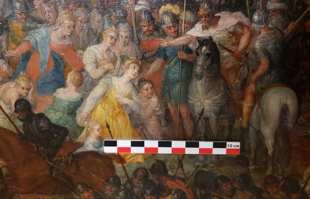 Photo d'un tableau avec une échelle de mesure dessus